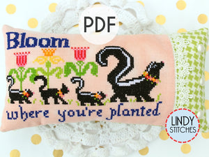 PDF Bloom Where You're Planted Cross Stitch Pattern by Lindy Stitches