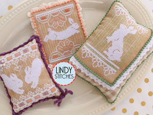 Bunny Lace Trio Cross Stitch Pattern by Lindy Stitches Physical Copy