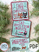 Load image into Gallery viewer, PDF Cats Love Christmas Cross Stitch Pattern by Lindy Stitches