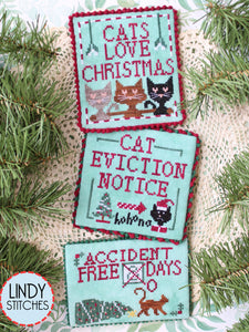 Cats Love Christmas Cross Stitch Pattern by Lindy Stitches Physical Copy