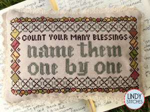 Count Your Many Blessings Cross Stitch Pattern by Lindy Stitches Physical Chart