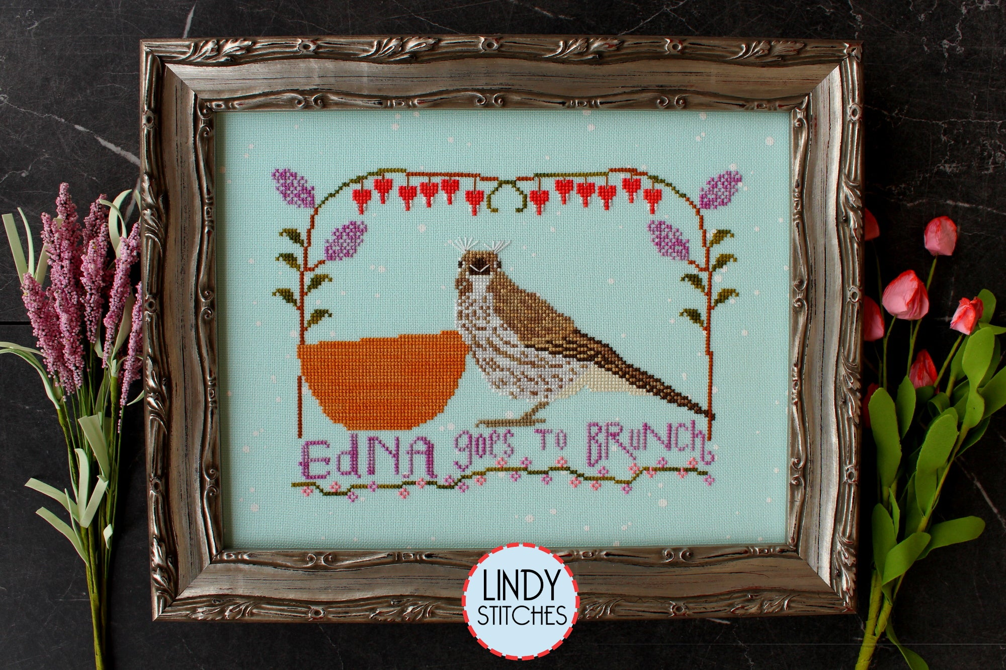 Edna Goes To Brunch by Stephanie Webb of Lindy Stitches cross stitch chart 2021