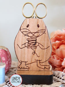 Evelyn Scissor Mouse Wooden Scissor Holder by Lindy Stitches