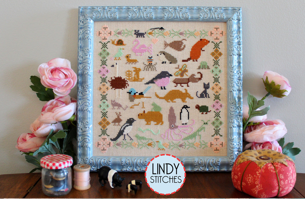 Funky Menagerie 2021 SAL Cross Stitch Pattern Physical Copy by Lindy Stitches