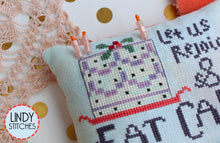 Load image into Gallery viewer, Eat Cake! Pincushion Kit with fabric, floss, trims, birthday candle pins Lindy Stitches