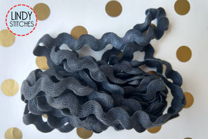 Licorice Rick Rack Trim by Lady Dot Creates Hand Dyed 3 Yards