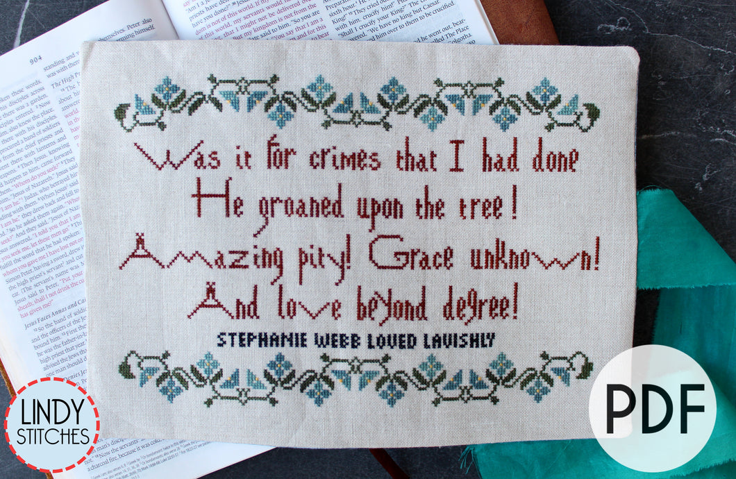 PDF Love Beyond Degree Cross Stitch Pattern by Lindy Stitches
