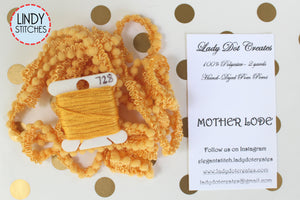 Mother Lode Mini Pom Pom Trim by Lady Dot Creates Hand Dyed 2 Yards Yellow