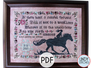 PDF Ride Forth Singing Cross Stitch Pattern by Lindy Stitches
