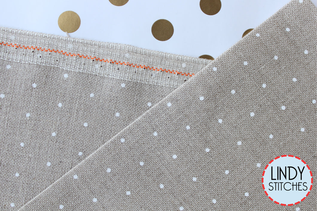 36 ct Raw Linen with White Mini Dots by Zweigart