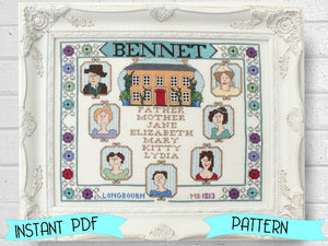 PDF Pride and Prejudice Blessing Cross Stitch Pattern by Lindy Stitches