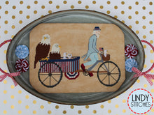 Load image into Gallery viewer, PDF Uncle Sam's Rickshaw Cross Stitch Pattern by Lindy Stitches
