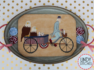 Uncle Sam's Rickshaw Cross Stitch Pattern by Lindy Stitches Physical Chart