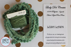 Mossy Mini Pom Pom Trim by Lady Dot Creates hand-dyed 2 continuous yards soft medium olive green