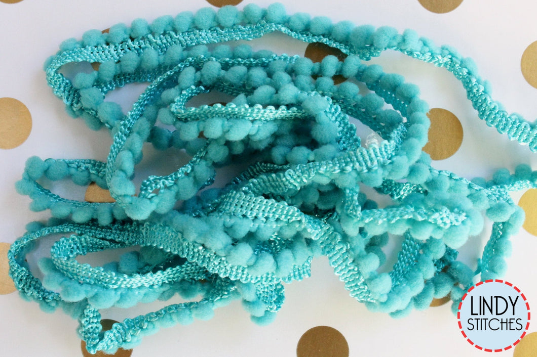 Caribe Mini Pom Pom Trim by Lady Dot Creates Hand Dyed 2 Yards Blue