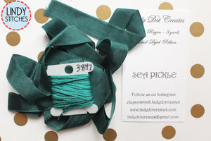 Sea Pickle Teal Ribbon by Lady Dot Creates Hand Dyed