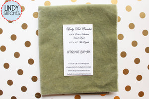 String Bean Green Hand Dyed 100% Cotton Velveteen by Lady Dot Creates