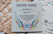 Load image into Gallery viewer, Project Sticker Plates Spring Flowers Set of 5 Adhesive Stickers for Framed Finishes