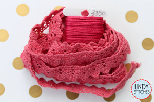Red Wagon Lace Hand Dyed 100% Cotton Lace by Lady Dot Creates
