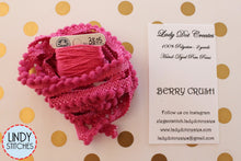 Load image into Gallery viewer, Berry Crush Mini Pom Pom Trim by Lady Dot Creates Hand Dyed 2 Yards Pink Purple