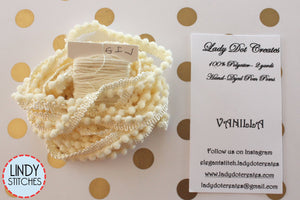 Vanilla Mini Pom Pom Trim by Lady Dot Creates Hand Dyed 2 Yards Cream