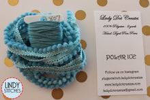 Load image into Gallery viewer, Polar Ice Mini Pom Pom Trim by Lady Dot Creates Hand Dyed 2 Yards Blue