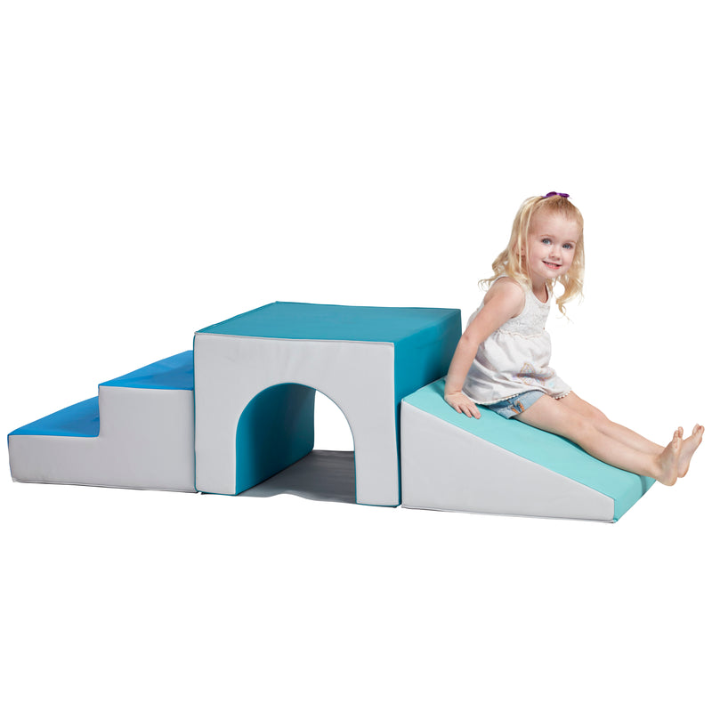 Single Tunnel Foam Climber - Freestanding Indoor Active Play Structure for Toddlers and Kids - Soft Foam Play Set