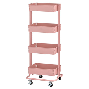 4 Tier Metal Rolling Utility Cart Kitchen And Craft Storage With Fou