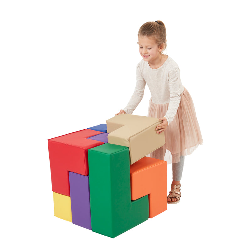 Brainy Soft Foam Blocks, Soma Cube Puzzle, 7-Piece Set - Assorted