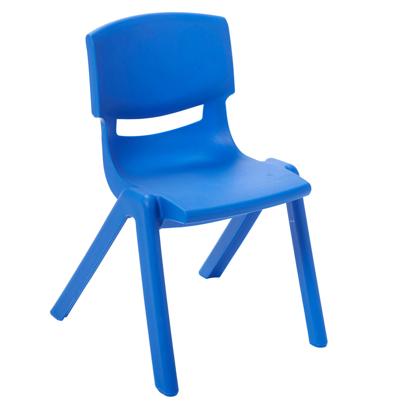 12 inch Plastic Stackable Classroom Chairs, Indoor/Outdoor Resin Stack Chairs for Kids and Toddlers, Preschool and Daycare Furniture, Blue - 10-Pack