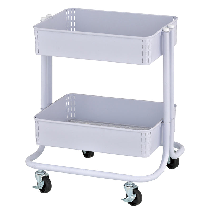 2-Tier Metal Rolling Utility Cart - Under Desk Office Storage Caddy with Two Shelves, Multipurpose Mobile Organizer for Home or Office