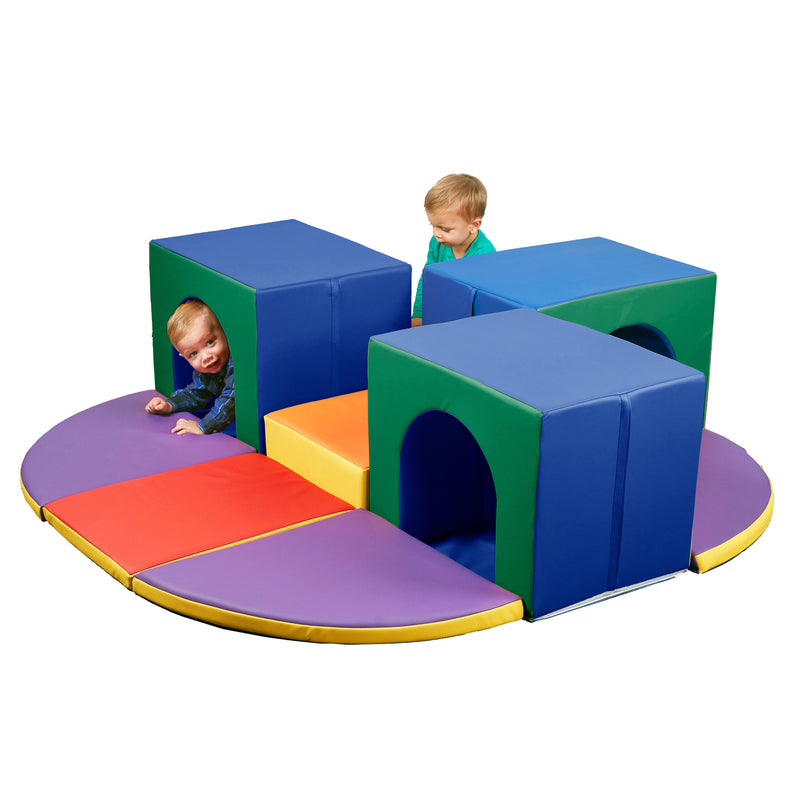 Triple Tunnel Maze Foam Climber, Indoor Active Play Structure for Babies and Toddlers
