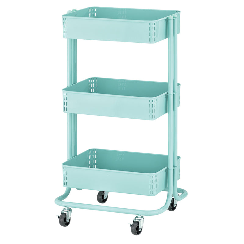 3-Tier Metal Rolling Utility Cart - Kitchen and Craft Storage with Three Shelves, Multipurpose Mobile Organizer with Wheels and Locking Casters