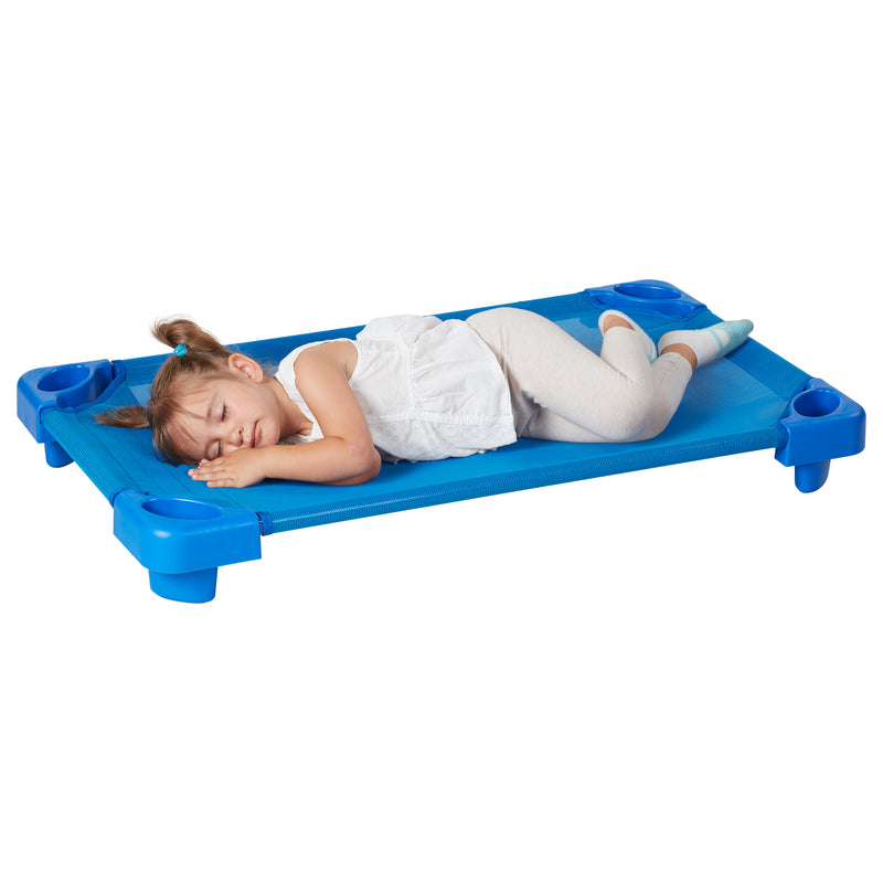 Children's Stackable Daycare Naptime Cot for Toddlers, Assembled, Blue (Set of 5)