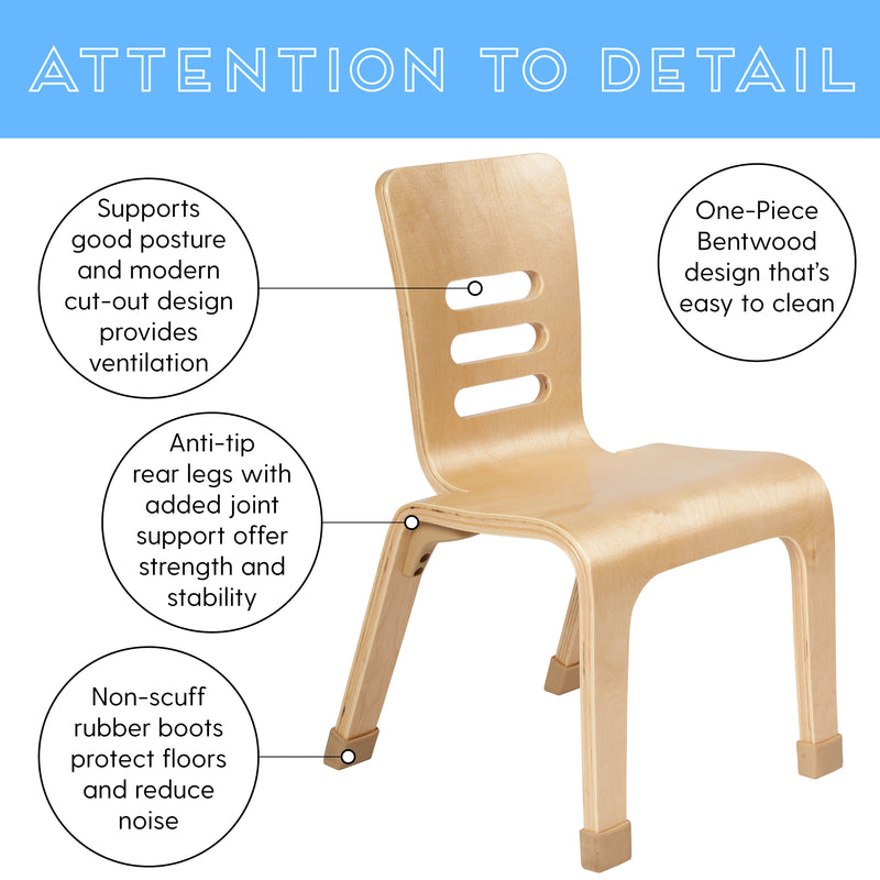 "ECR4Kids 12"" Bentwood School Stacking Chair for Students, Natural (2-Pack)"