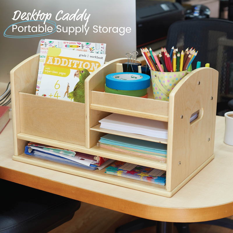 Birch Tabletop Supplies Storage Center, Wood Teacher Caddy - Natural