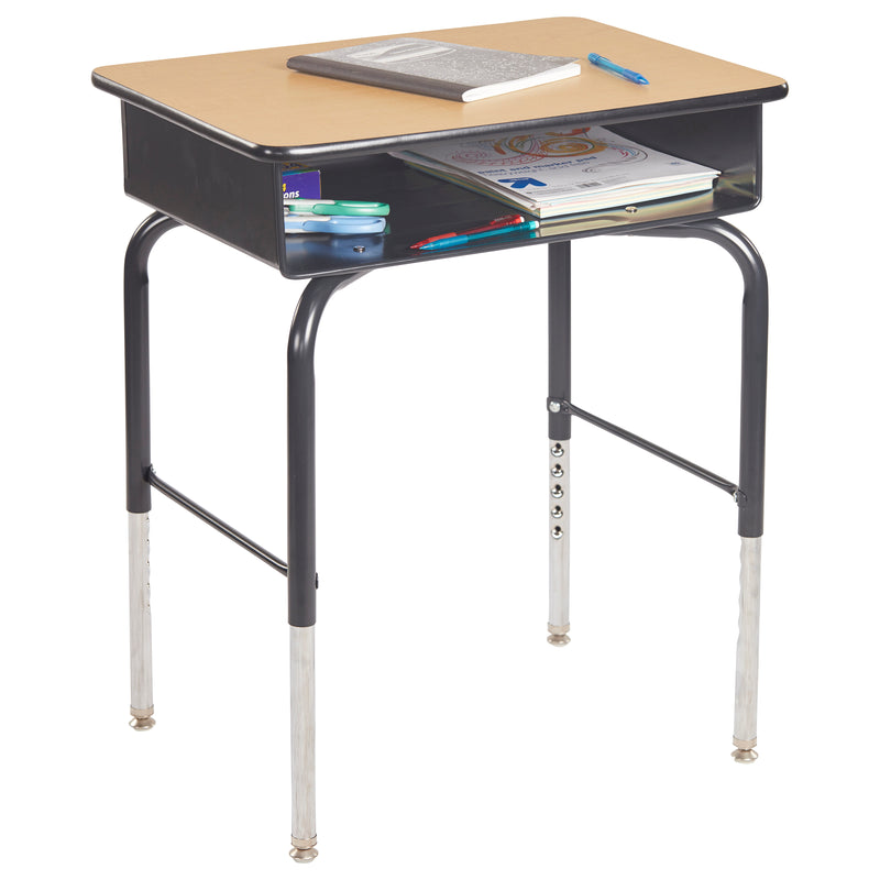 24in x 18in Adjustable Open Front Student Desk with Metal Book Box - Oak/Black