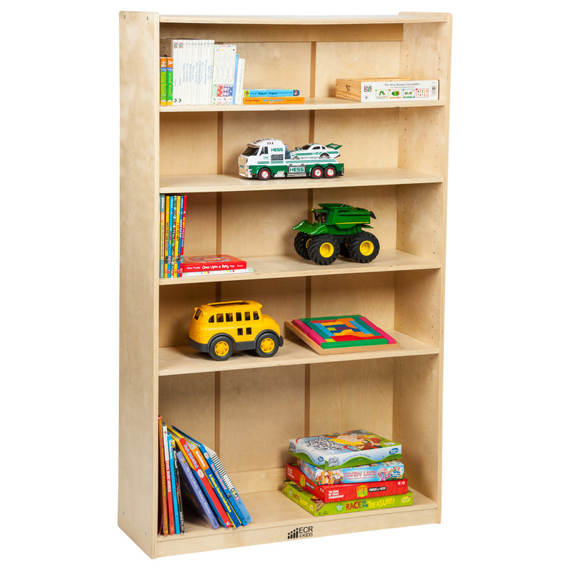 Birch Bookcase with Adjustable Shelves, Wood Book Shelf Organizer for Kids