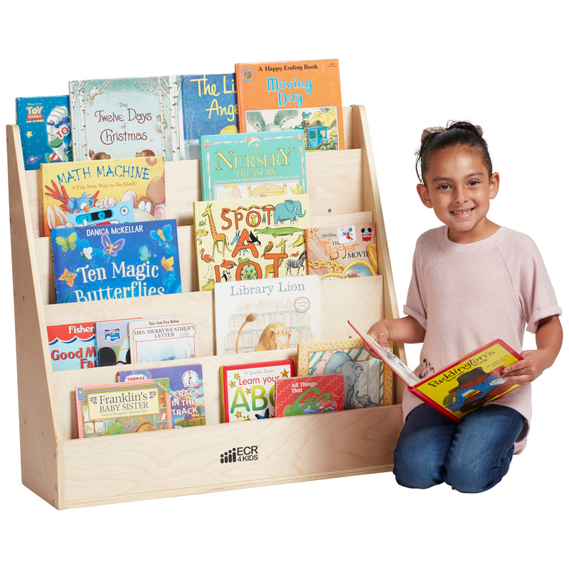 Streamline Book Display, Eco-Friendly Birch Plywood Single-Sided Bookshelf, 5-Shelves - Natural