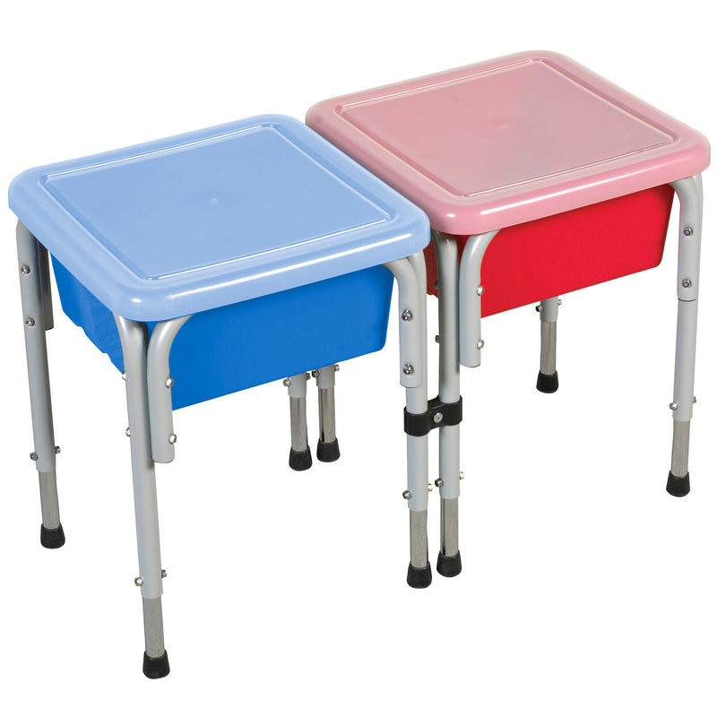 2-Station Sand and Water Adjustable Activity Play Table Center with Lids, Square - Red/Blue