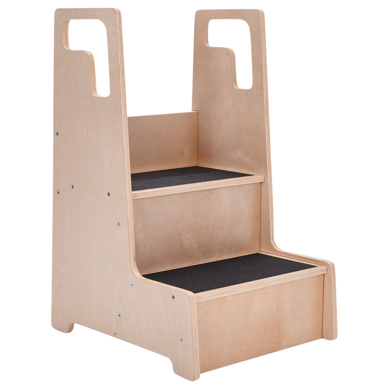 Reach-Up Kids Step Stool with Handles, Eco-Friendly Birch Plywood Stool with Safety Rails - Natural
