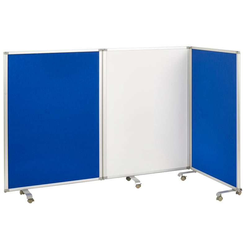 Mobile Dry-Erase Room Divider and Partition, 3-Panel Board and Flannel Felt with Rolling Casters - Blue
