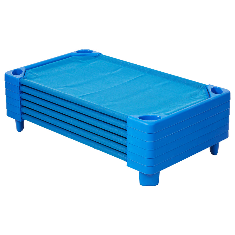 Children's Streamline Daycare Naptime Cot for Toddlers, Assembled, Blue (Set of 6)