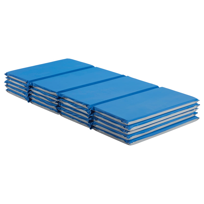 Value 4-Fold Rest Mat, 1in Thick, 5-Pack - Blue/Grey