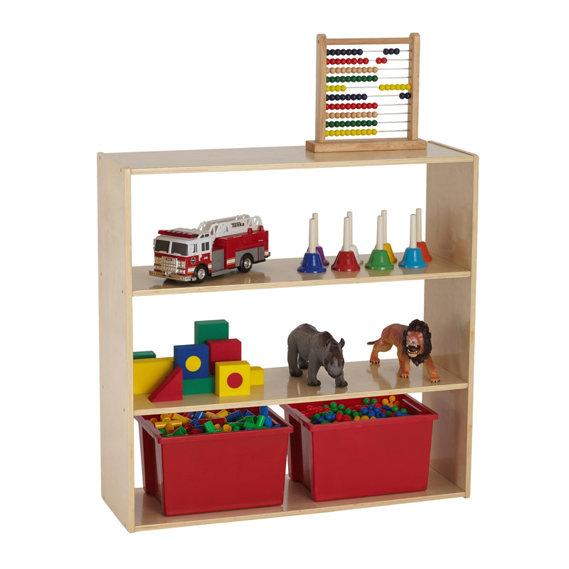 "Birch Streamline Storage Cabinet - Hardwood Classroom & Home Storage Solution for Kids - 3-Shelf without Back, 36"" H"