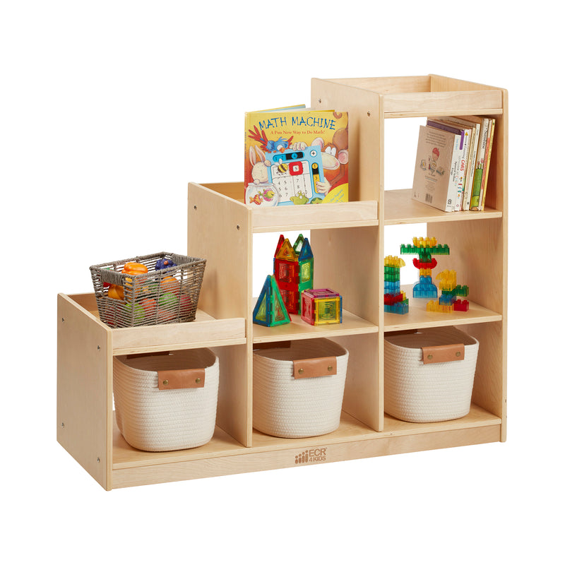 Birch 3-2-1 Cube Storage Cabinet, 6-Compartment Wood Bookcase - Natural