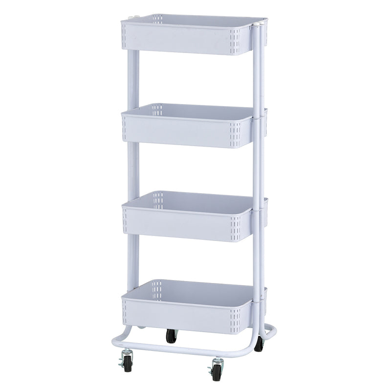 4-Tier Metal Rolling Utility Cart - Kitchen and Craft Storage with Four Shelves, Multipurpose Mobile Organizer with Wheels and Locking Casters
