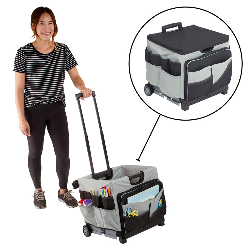 Universal Rolling Cart and Organizer Bag, Mobile Storage - Black