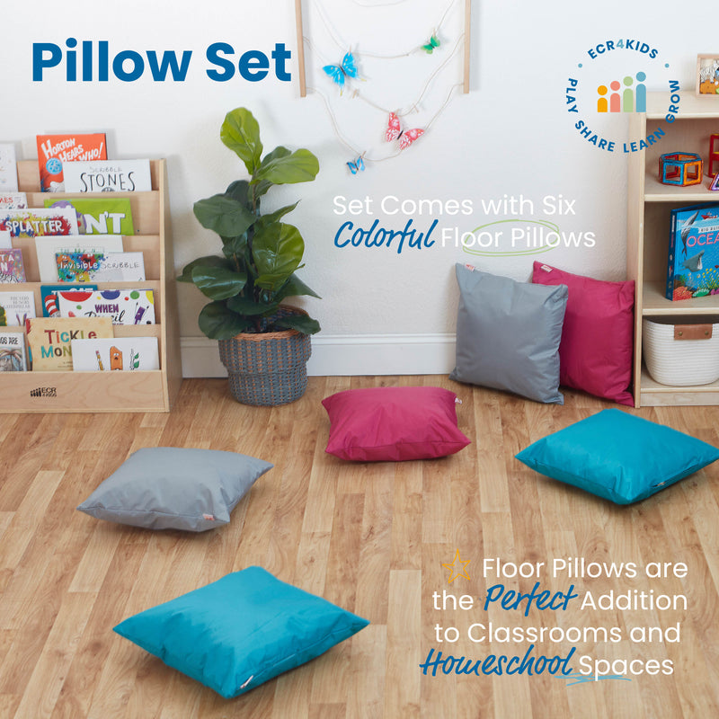 Floor Pillow Set, 17in Indoor/Outdoor Pillows, 6-Piece - Assorted