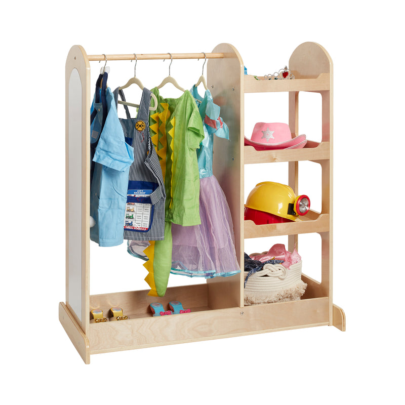 Dress-Up Center with Mirrors, Eco-Friendly Birch Plywood Dramatic Play - Natural